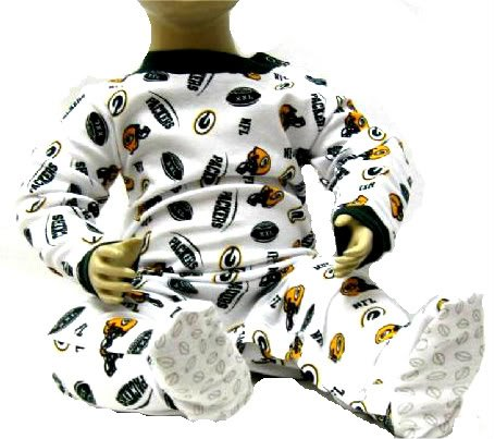 Green Bay Packers All Over Logos Pajamas Onesie Footed Sleeper Infant Size 24 Months at Amazon.com