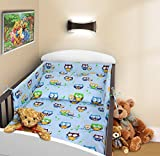 COT BUMPER 100 COTTON PADDED FOR BABY FIT COT 120x60 140x70 STRAIGHT 180cm to fit cot 120x60cm Owls Blue