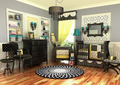 Dk Leigh Crib Nursery Bedding Set, Elegant Girl, Yellow, 10 Piece
