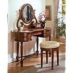 3pcs Carrington Walnut Finish Vanity Table with Stool Set