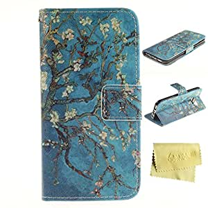 Galaxy S7 Case,Galaxy S7 Wallet Case,MT-Mall(TM) for Samxung Galaxy S7 PU Leather Kickstand Flip Folio Case[Built-in Credit Card Slots]with Flower Pattern