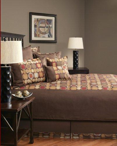 Sherry Kline Metro Spice Suede Comforter Set, Queen,Brown, 8 Piece front-69157