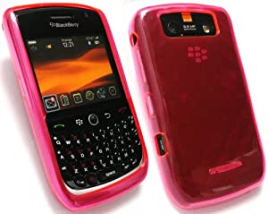 EMARTBUY BLACKBERRY 8900 CURVE LCD SCREEN PROTECTOR AND DIAMOND PATTERN SILICON GEL SKIN COVER/CASE PINK