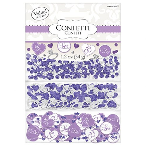 Amscan Value Pack Adorable I Do & Ring Wedding Party Confetti, 1.2 oz, Lilac