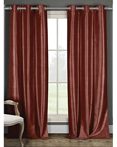 Duck River Set of 2 Daenerys 84″ Faux Silk Thermal Black Out Grommet Panels, Wine