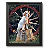 Pointer Puppy Dog In Wagon Kids Room Animal Home Decor Wall Picture Black Framed Art Print