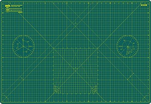 ANSIO® - Tappetino da taglio autorigenerante doppia facciata, con misure sistema metrico e imperiali, misura A1, 90 cm x 60 cm, verde/verde, A1