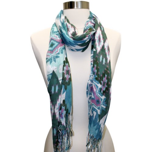 Luxury Divas Blue Multi Color Native American Printed Tribal Fringed Scarf