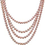 "HinsonGayle AAA Handpicked Ultra-Luster Naturally Pink 6.5-7.0mm Cultured Pearl Rope Necklace (Glamour Collection, 82"")"