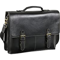 AmeriLeather Classical Leather Organizer Briefcase (Black)
