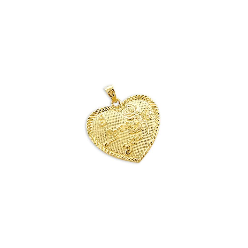 14k Yellow Gold I Love You Heart Rose Charm Pendant NEW