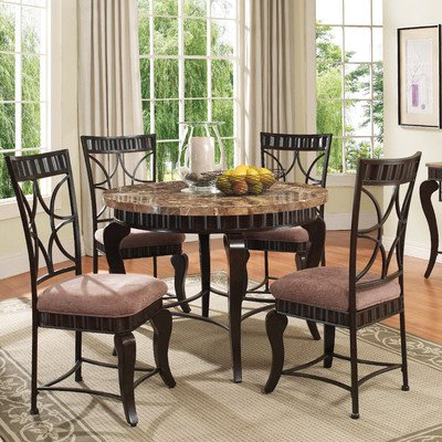 Get price for acme 18285 galiana round dining table w brown marble top in espresso cecile e - Marble dining table prices ...