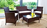 IJ Interiors - RATTAN GARDEN FURNITURE SET CHAIRS SOFA TABLE OUTDOOR PATIO CONSERVATORY WICKER Black