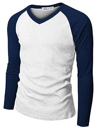 Doublju Mens Raglan V-Neck T-shirts BLUE (US-S)