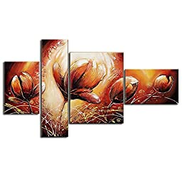 Neron Art - Tulip Floral Oil Paintings Set of 4 Panels on Gallery Wrapped Canvas 48X29 inch (122X74 cm)