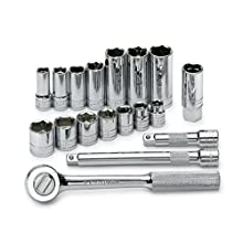 SK 94520 18 Piece 3/8-Inch Drive 6 Point 3/8-Inch to 3/4-Inch Standard and Deep Socket Set with 5/8-Inch Spark Plug Socket