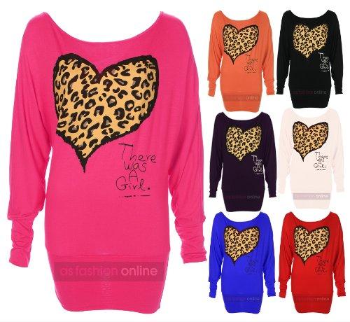 New Ladies Off Shoulder Long Sleeve Batwing 'Leopard Heart Print' Womens Top S/M-M/L