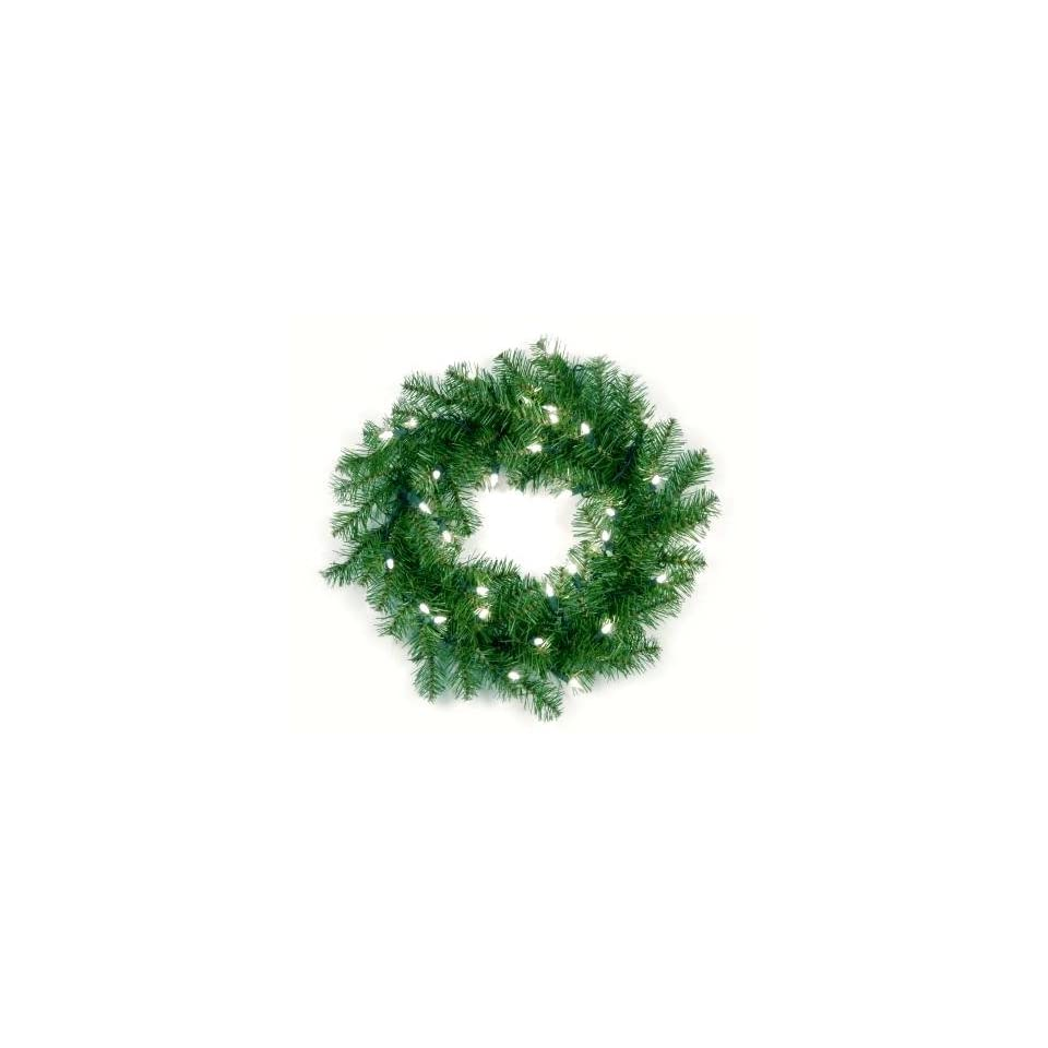National Tree Company AP7 300 20W 20 Inch Aspen Spruce Wreath with 35 Clear Lights