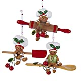 "KURT ADLER 4"" GINGERBREAD ROLLING PIN, SPOON, SPATULA BAKING ORNAMENT - SET OF 3"