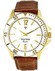 Swiss Grand SG-1152 Golden Coloured With Brown Leather Strap Analog Quartz Watch For Men