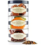 Tea Forte LOOSE LEAF TEA TRIO, 3 Small Tea Tins, Black Tea Sampler - Hazelnut Truffle, Sweet Orange Spice, Bombay Chai