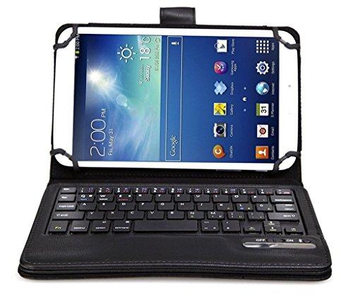 Foxtop Abnehmbare Bluetooth US Tastatur Hülle für Universal 7-8 Zoll Tablet Portfolio Ledertasche abnehmbare Bluetooth Tastatur Hülle für Samsung Galaxy Note 8.0 / Tab 2 7.0 / Tab 3 7.0 / Tab 3 8.0 / Acer A1-810 / W3-810 / iPad Mini / New iPad Mini Retina Display / Asus Memo Pad HD 7 / Dell Venue 8 Pro / Nexus 7 / Nexus 7 HD Support Android / IOS / Windows Systems Schwarz