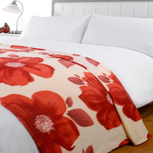 Poppy Floral Fleece Throw, Red, 120 x 150 Cm
