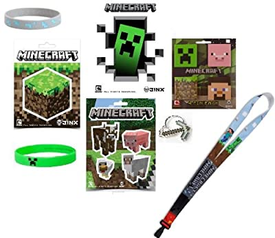 Minecraft Ultimate Holiday Bundle Gift Set Of 17 Includes Stickers Bracelets Keychain Lanyard And Pin Pack Set from MOJANG