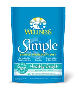 Wellness Simple Natural Grain Free Limited Ingredient Dry Dog Food, Healthy Weight Salmon & Peas Recipe, 4.5-Pound Bag