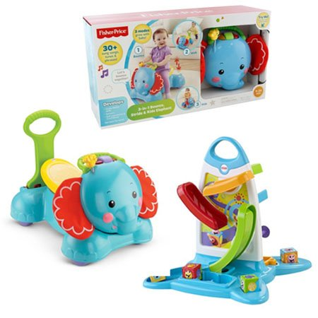 Fisher-Price 3-in-1 Bounce, Stride and Ride Elephant with Fisher-Price Roller Blocks Play Wall Bundle (Fisher Price Push Elephant compare prices)