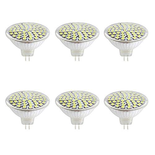 6x LED MR16 Bulbs AC DC12V 5W LED Spotlight 60LEDs SMD2835 400 Lumen Cool White 6000K 50mm Light Glass Cup 180 Degree Beam Angle for Landscape, Accent, Recessed, Track Lighting, Indoor Lighting