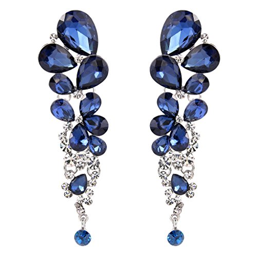 EVER FAITH® Women's Crystal Gorgeous Tear Drops Wedding Dangle Earrings Navy Blue Silver-Tone (Vintage Rhinestone Earrings compare prices)