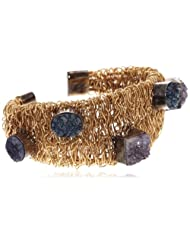 Aquamarine Egyption Style Collection Golden Plated Cuff Bracelet For Women (Gold, Blue And Purple) (AQ_15_A)