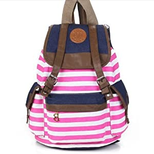 Evalley Unisex Fashionable Canvas Backpack School Bag Super Cute Stripe School College Laptop Bag for Teens Girls Boys Students (Pink)