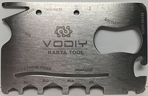 VODIY QP-P106 Credit Card Size, Compact, Durable, 18-in-1 Multi-Tool, Perfect for Camping, Hiking & Emergency Use