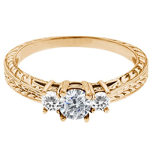 0.58 Ct Round G/H Diamond White Topaz 14K Yellow Gold 3-Stone Ring