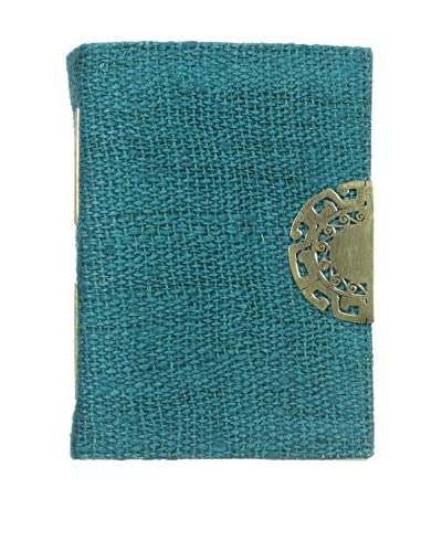Marina Vaptzarov Hemp Cover Journal with Hand-Carved Brass Clasp, Teal
