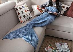 Casofu® Mermaid Tail Blanket Adult/Teen Tails, All Seasons Knitted Seatail Blanket, Sleeping Bag Sofa Bed Snuggle Mermaid Light Blue 55\