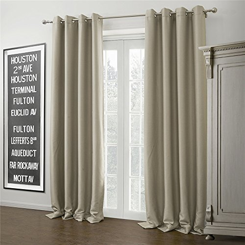 "IYUEGOU Warm Ivory Solid Blackout Grommet Top Curtain Draperies With Multi Size Customs 50"" W x 63"" L (One Panel)"