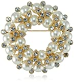 "Anne Klein ""Holiday Pins"" Gold-Tone and Pearl Wreath Pin"