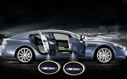 2 X Black 5Th Gen Car Door Shadow Laser Projector Logo Light For Audi S-Line S Line Q3 Q5 Q7 S4 A1 A3 A4 A5 A6 A7 A8 Tt Rs4 Rs6 Rs8 R8 S4 S6 S8 Allroad Quattro