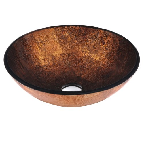 New VIGO VG07505 Atlantis Glass Vessel Sink, Copper
