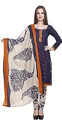 Divyaemporio Women'S Faux Cotton Blue And Beige Salwar Suits Dress Material