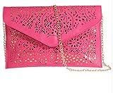 Womens Envelope Clutch Chain Foil Floral Purse Lady Handbag Shoulder Evening Bag (Rose Red)