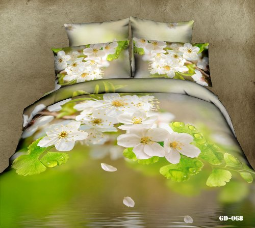 Queen King Size 100% Cotton 7-Pieces 3D White Flowers Green Leaf River Lake Floral Prints Fitted Sheet Set With Rubber Around Duvet Cover Set/Bed Linens/Bed Sheet Sets/Bedclothes/Bedding Sets/Bed Sets/Bed Covers/ Comforters Sets Bed In A Bag (King) front-679993