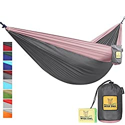 FLASH SALE The Ultimate Single Double Camping Hammocks- The Best Quality Camp Gear For Backpacking Camping Survival Travel- Portable Lightweight Parachute Nylon Ropes and Carabiners Included DO Charcoal Grey & Rose DoubleOwl