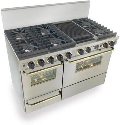"""48"""" Pro-Style Dual-Fuel Natural Gas Range with 6 Sealed Ultra High-Low Burners 3.69 cu. ft. Convection Electric Oven and Double Sided Grill/Griddle Stainless Steel with Brass"""