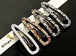 Blingys Crystal Rhinestone Water Drop Style Hair Clips/Barrette/Hairpin/Bobby Pin (Packed With Our Blingys Bag) (Black)