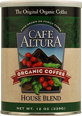 Cafe Altura 12 oz Organic Ground Can House Blend Ground Coffee 12 OZ (pack of 6 )