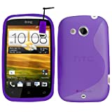 Samrick S Wave Hydro Gel Protective Case, Screen Protector, Microfibre Cloth, Purple High Capacitive Mini Stylus Pen for HTC Desire C - Purple